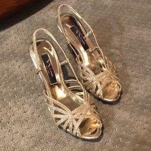 Nina NY Heels: Strappy, Sparkly, and Gold! 💫
